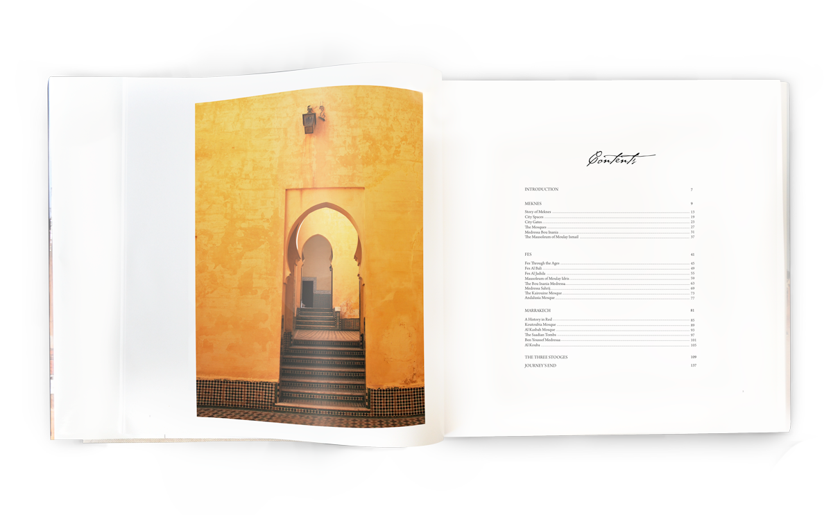 Contents page for book on Morroco's architecture