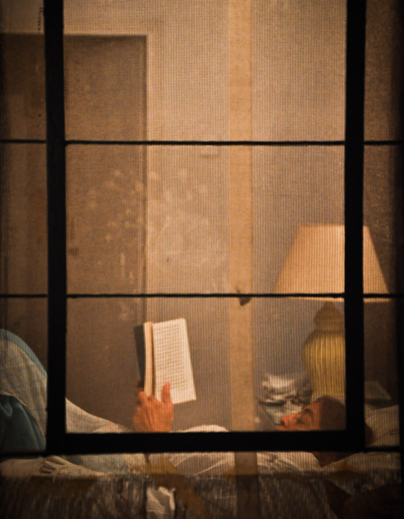 woman seen through window reading before bed