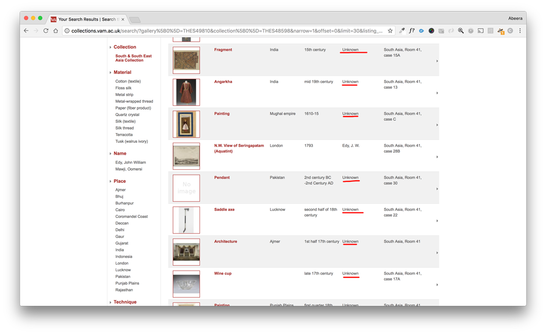 screenshot from the V&A's online South Asia collection